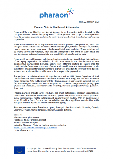 Pharaon: Pilots for Healthy and Active Ageing - Press Release Cover
